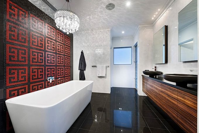 Classy And Cozy Bathroom Design With White Rectangle Bathtub Wooden Vanity Patterned Wall Decor
