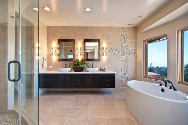 Classy Modern Master Bathroom With Warm Colors And White Bowl Porcelain Floating Cabinet