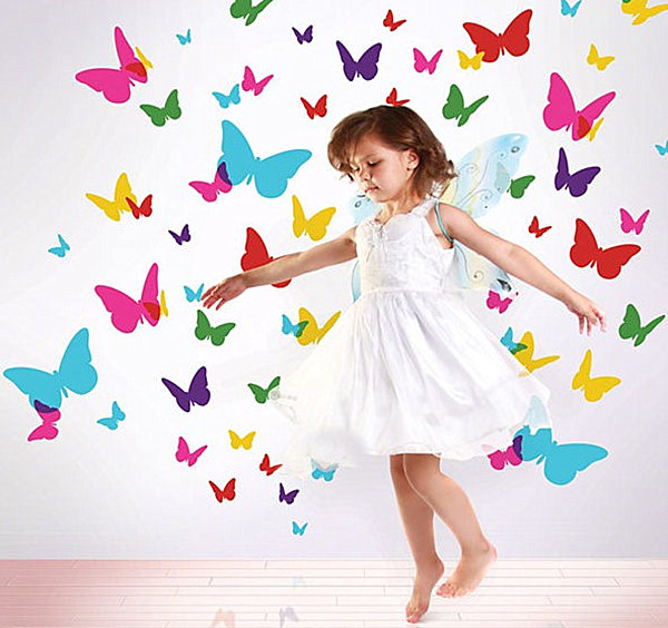 Colorful Butterfly Wall Decals Gril's Room Decor Ideas