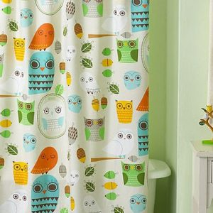 Colorful Playful Owl Themed Shower Curtain Cool Kids Curtain Design