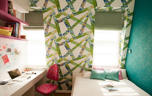 Colorful Girls Bedroom Furniture And Unique Window Wall Design