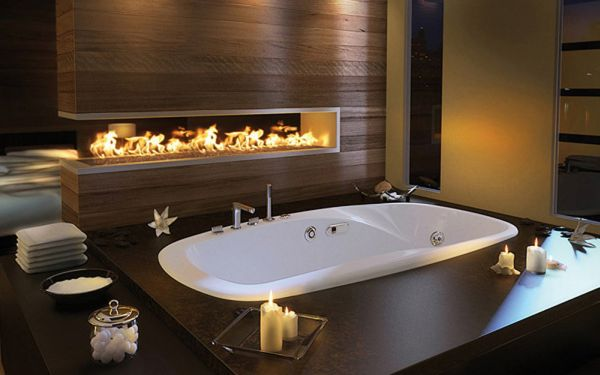 Comfort Modern Fireplace Lights Up This Bath Area With White Tub Design