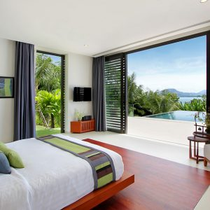 Comfortable Villa Padma Bedroom With Floor To Ceiling Glass Door Bedroom With Greenery View