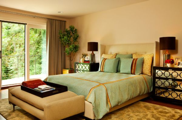 Comfy Bedroomdecor With Large Window And Plush Upholstered Bench In A Bedroom Laced With Ample Green By Garrison Hullinger Interior Design Inc