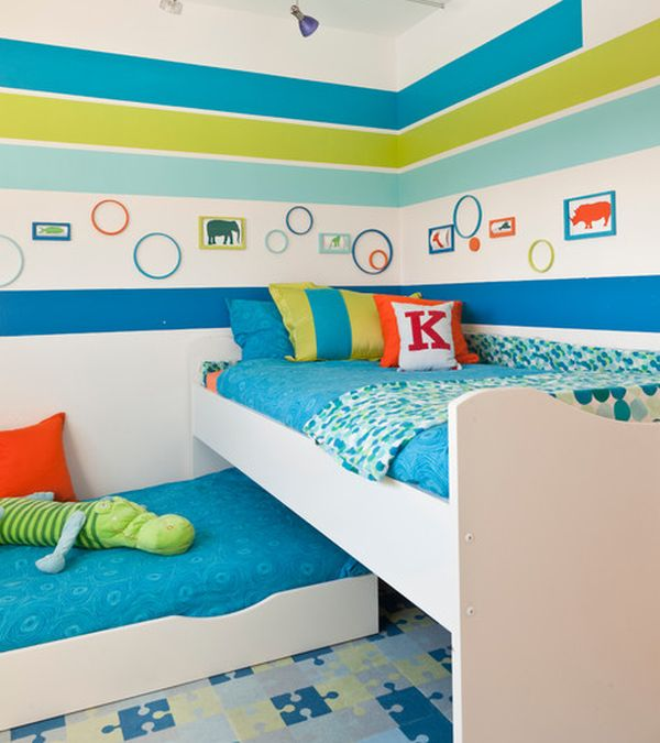 Compact Bedroom Design With Snazzy Trundle Bed Design Blends In With The Multitude Of Hip Colors
