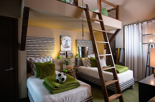 Compact Kid's Bedroom With 3 Bed Design Green Accent Kids Bedroom Design