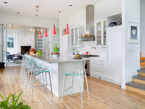 Contemporary White Kitchen With Marbel Countertops And Wood Palette Floor