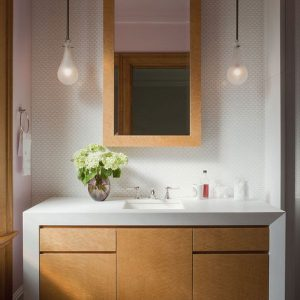 Contemporary Bathroom Vanity Design Is Perfect For The Chic Home With White Sink And 2 Bulb Like Pendant Lamp Lighting