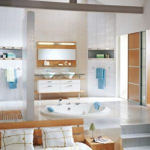 Contemporary Bathroom With Wooden Furniture And White Tiled