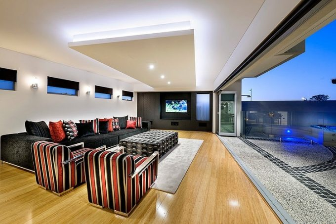 Contemporary Classy Living Room Design With Awesome Ceiling Lighting Design