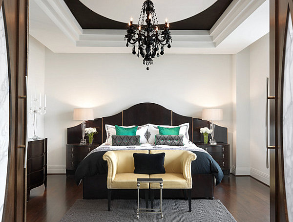 Contemporary Large Bedroom Design Touches Of Emerald In An Elegant Bedroom