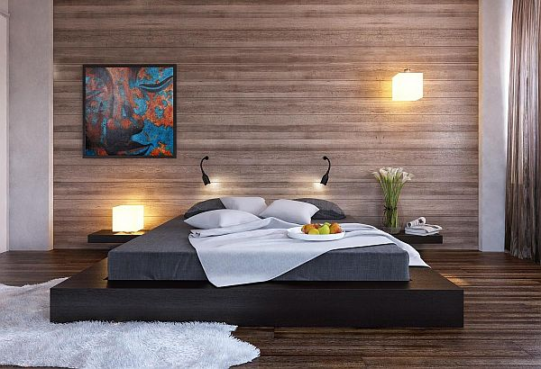 Cool Black Platform Bed With Wood Clad Bedroom Wall And Black Low Bed Design