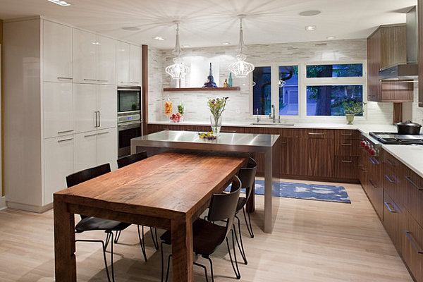Cool Kitchen Island Table In Custom Wrapped Stainless Steel Wood Eating Table