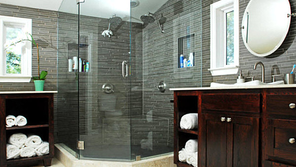 Cool Masculine Bathroom In Gray Stone Wall And Wood Vanity