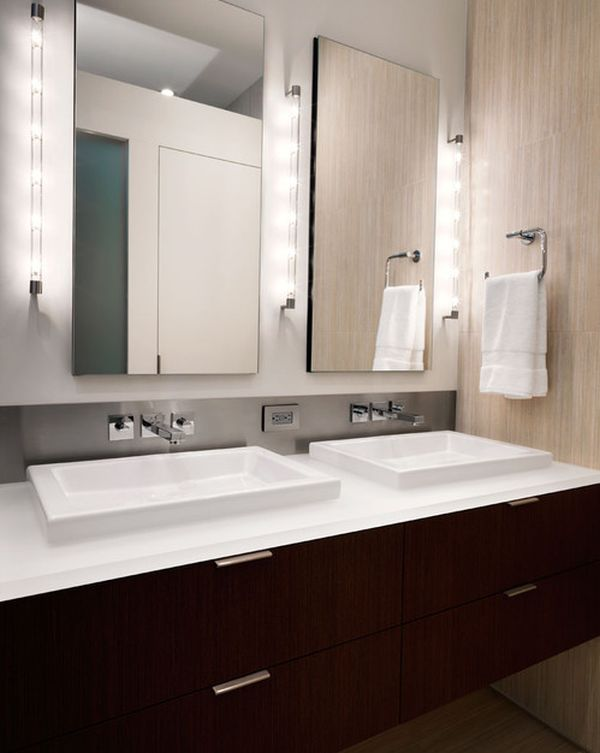 Cool Bathroom With Clean And Minimal Vanity Design Lit Up In A Stunning  Fashion And Wall Light Decor