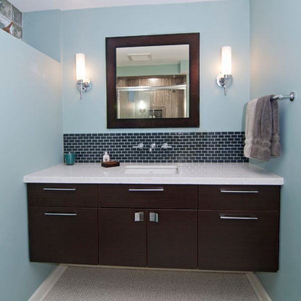 Cozy Dark Floating Cabinet With A White Countertop And An Undermount Sink Traditional Vanity Design
