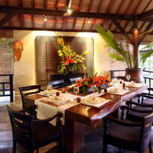 Cozy Villa Kacang 2nd Floor Dining Room With Wooden Beam Table And Natural Wooden Interior Nuance