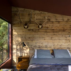 Cozy Bedroom Design With Rustic Wooden Beadboard And Glass Windows Forest House Design