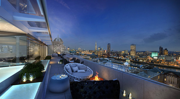 Creative Hotel Me London Awesome Penthouse Design With Modern Balcony And London City View