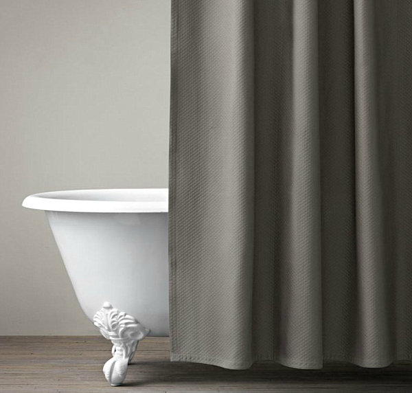Dark Curtain Design With Diamond Stitched Gray Shower Curtain