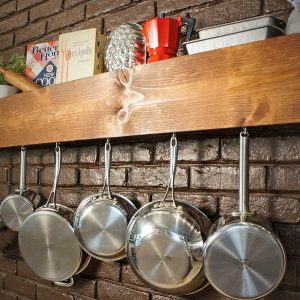 Decorative Wood Mounted Wooden Plan Pot Rack Smart Kitchen Accessories