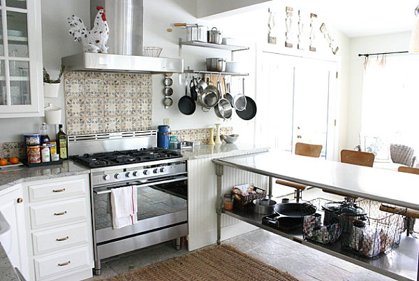 Easy Accessible Equipment In An Organized Kitchen With Open Rack And Wall Shelving