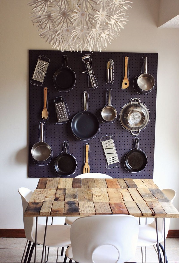 Effective Wall Sorage Decor With Pegboard Pot Rack With Chalk Outlines