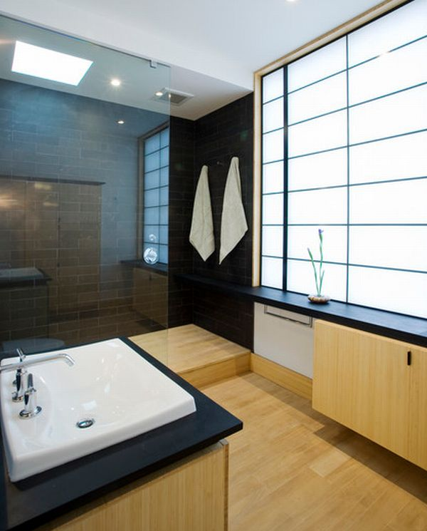 Elegant Japanese Bathroom With Opaque Glass Window And Pale Wood Flooring