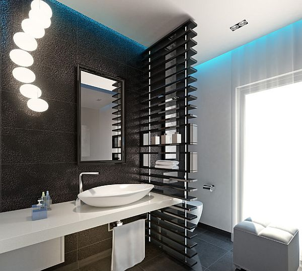 Elegant Black Shelving For Modern Bathroom With Privacy Screen