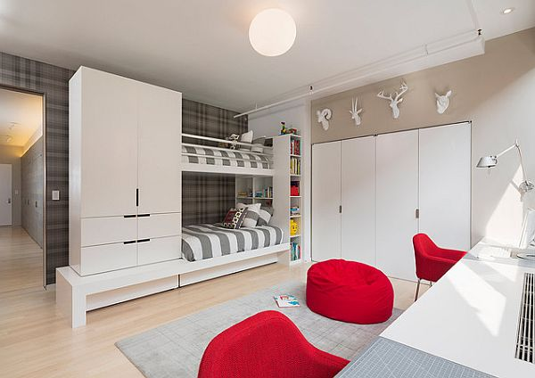 Elegant Modern Kids Bedroom Furniture With Bunkbed And White Desk Also Red Chair