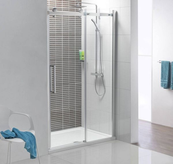 Elegant Shower Space Design Compact Shower Space With A Polished Chrome Frame And Clear Glass Shower Door