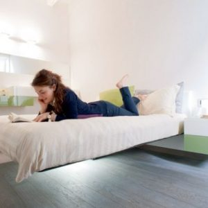 Exposed And Exclusive Floating Bed With Underbed Lighting