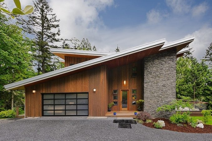 Exterior Modern Green House Made Of Wooden And Stone Wall Sustainable Material