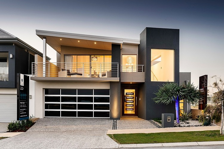 Exterior Port Coogee Residence With Grey Transparent Glass And Glossy Black Garage Door