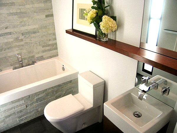 Few Deciration Like Wooden Ledge In The Bathroom For Limited Space Bathroom Decor