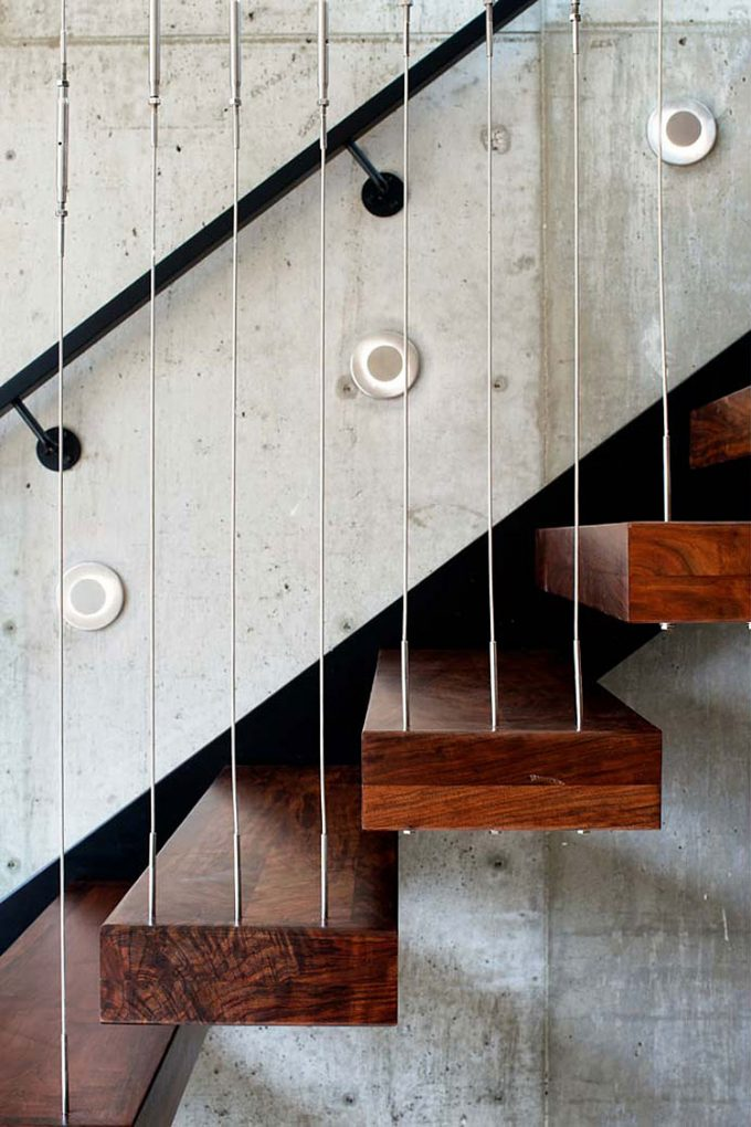 Floating Wooden Stair With String Railing Banister