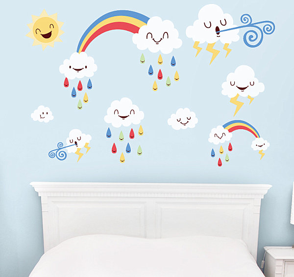 Funny Weather Wall Decals Colorful Kid's Wall Decor Ideas