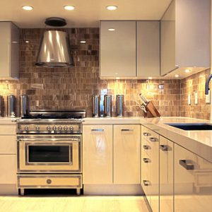 Glowing Metallic Canisters In A Modern Kitchen Decor Stylish Kitchen Design