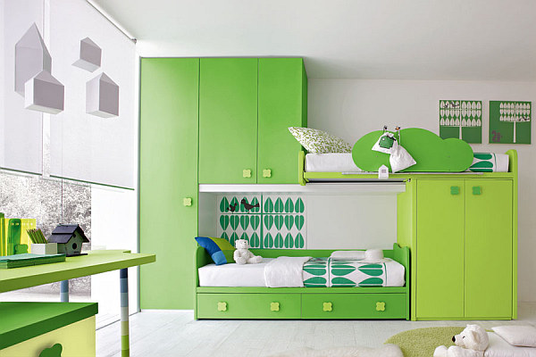 Green Kids Bedroom Furniture Multi Function Bed With Cabinet Decor