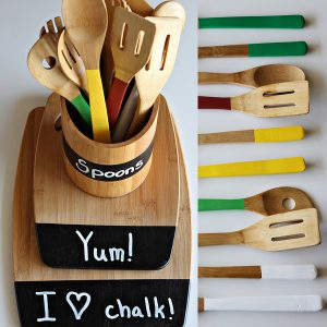 Green Kitchen Equipment With Wooden Utensil Caddy With Chalkboard Paint Labels