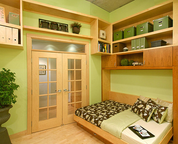 Guest Room Hideaway Twin Bed With Wooden Design