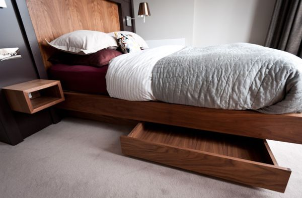 Interesting Contemporary Bed Design Built In Storage Units Under The Floating Bed Help Hide Away The Mess Wooden Bed Design