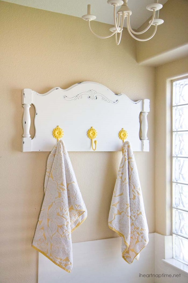 Interesting Towel Hanger Design With Repurposed Headboard Towel Rack With Yellow Flower Hooks