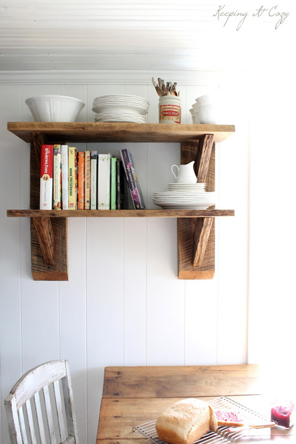 Kicthen Wall Shelving With Hanging Shelf Unit Made Of Reclaimed Wood