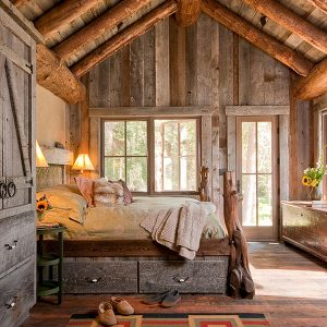 Lodge House House Bedroom With Palette Wood And Beams Materials Bedroom