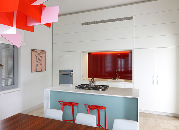 Lovely Modern White Kitchen With Red Accent For Feminine Kitchen Decor