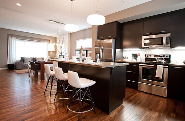 Lovely Kitchen Design With Chrome Counters As A Decorative Accent