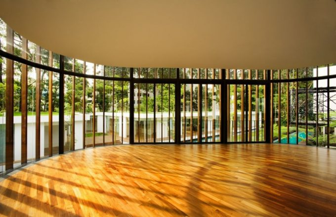 Luxury Wooden Floor Inside Curvilinear Pavilion