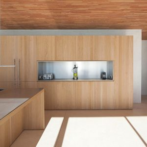 Minimalist And Sleek Wooden Kitchen Modern Hilltop House With Seafront