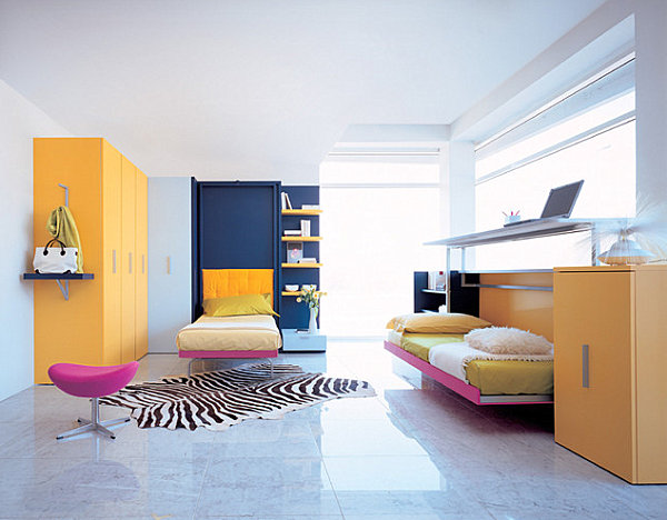 Minimalist Room With Modern Hideaway Bed For Kids